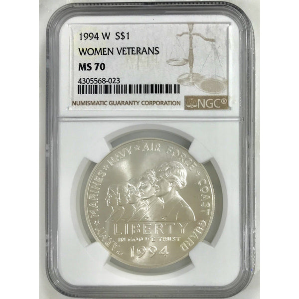 1994 W Women Veterans Dollar Ngc Ms70 802353 Coin