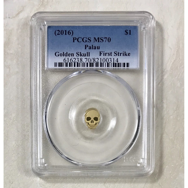 2016 Palau $1 Golden Skull Pcgs Ms70 *rev Tyes* #031490 Coin