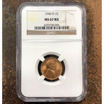 1940 D Lincoln Cent Ngc Ms67 Rd *rev Tyes* #800495 Coin