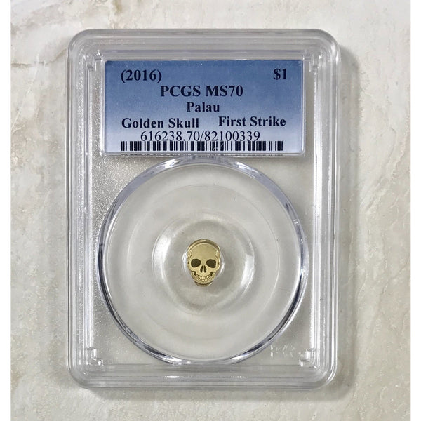 2016 Palau $1 Golden Skull Pcgs Ms70 *rev Tyes* #033990 Coin
