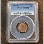 1925 D Lincoln Cent Pcgs Ms63 Rd *rev Tyes* #4256247