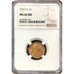 1937 S Lincoln Cent Ngc Ms66 Rd *rev Tyes* #001932