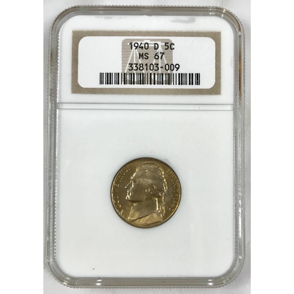 1940 D Jefferson Nickel Ngc Ms67 *rev Tyes* #300985 Coin
