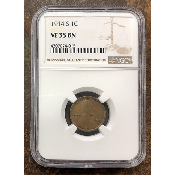 1914 S Lincoln Cent Ngc Vf35 Bn *rev Tyes* #401548 Coin