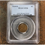 1924 D Lincoln Cent Pcgs Vf30 *rev Tyes* #597655 Coin