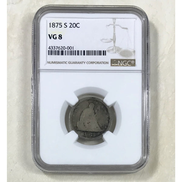 1875 S Seated Liberty Twenty Cent Ngc Vg8 *rev Tyes* #0001125 Coin