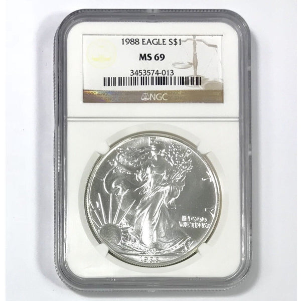 1988 Silver Eagle Ngc Ms69 *rev Tyes* #401339 Coin