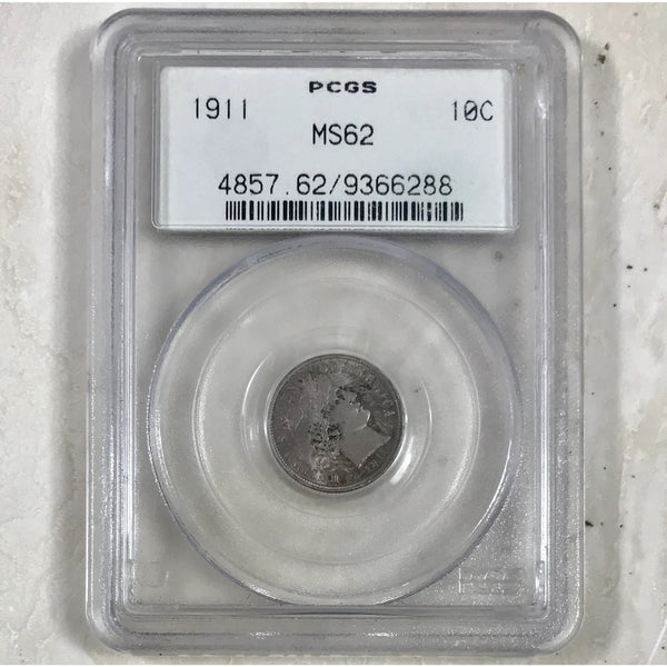 1911 Barber Dime Pcgs Ms62 Ogh *rev Tyes* #6288120 Coin