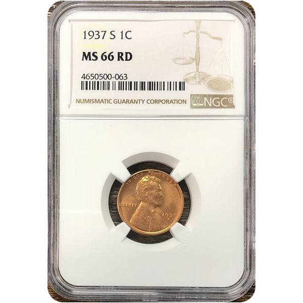 1937 S Lincoln Cent Ngc Ms66 Rd *rev Tyes* #006327