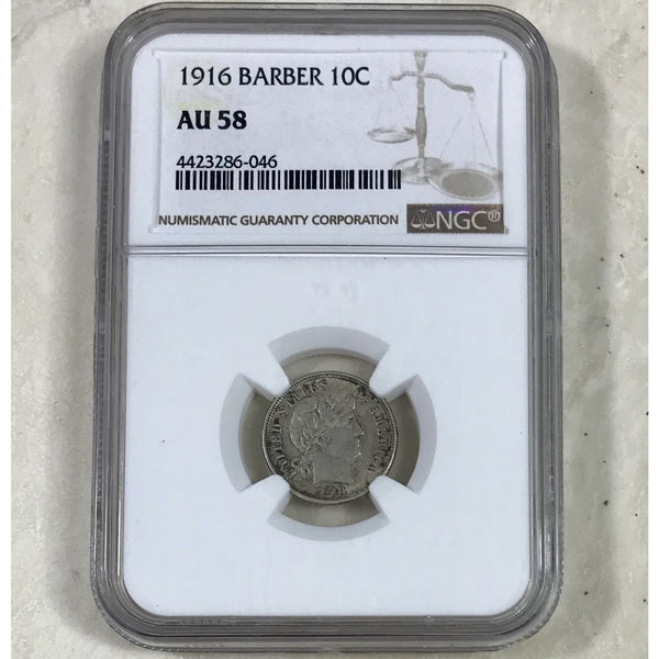 1916 Barber Dime Ngc Au58 *rev Tyes* #604662 Coin