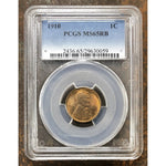 1910 Lincoln Cent Pcgs Ms65 Rb *rev Tyes* #0059137 Coin