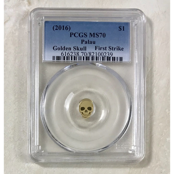 2016 Palau $1 Golden Skull Pcgs Ms70 *rev Tyes* #023990 Coin