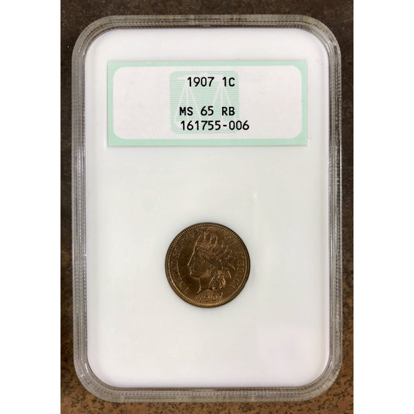 1907 Indian Head Cent Ngc Ms65 Rb *rev Tyes* #5006165 Coin