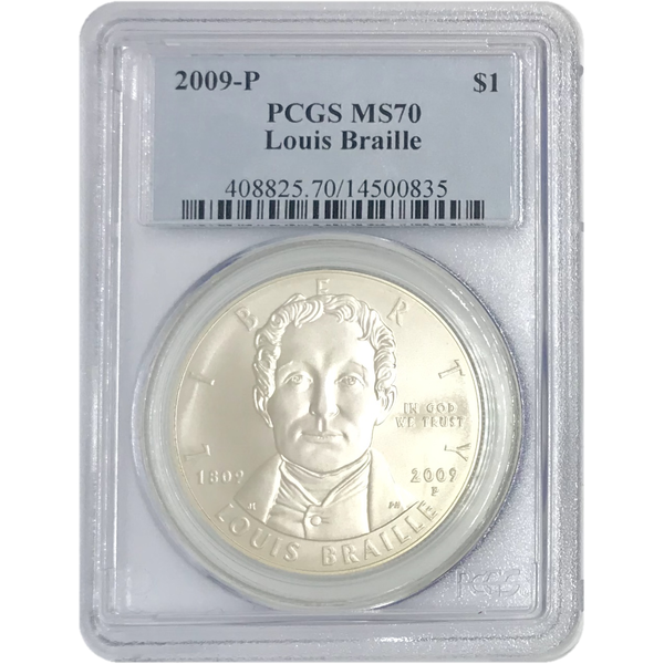 2009 P Louis Braille Dollar PCGS MS70 *Rev Tye's* #083540