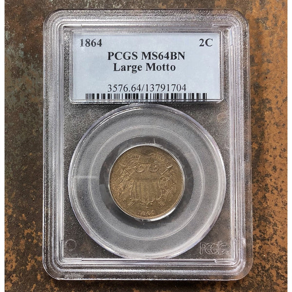 1864 Two Cent Piece Pcgs Ms64 Bn *rev Tyes* #1704171
