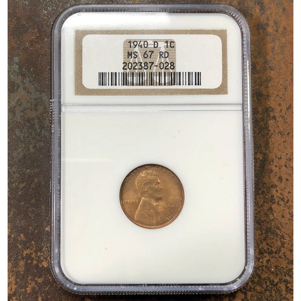 1940 D Lincoln Cent Ngc Ms67 Rd *rev Tyes* #702890 Coin