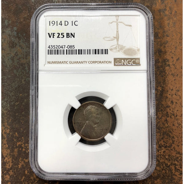 1914 D Lincoln Cent Ngc Vf25Bn *rev Tyes* #7085259 Coin