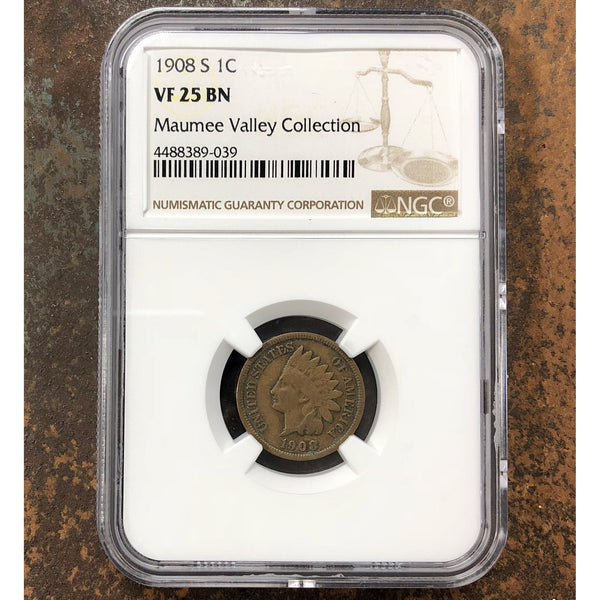 1908 S Indian Head Cent Ngc Vf25Bn *rev Tyes* #903991