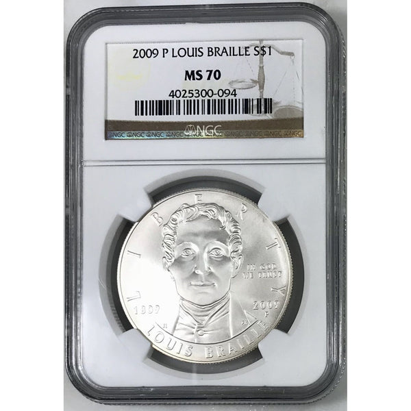 2009 Louis Braille Dollar Ngc Ms70 #009446 Coin