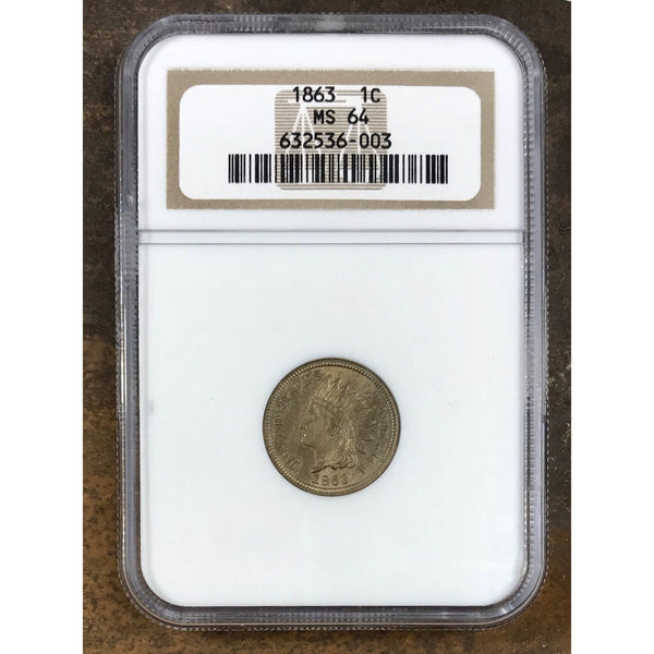 1863 Indian Head Cent NGC MS64 *Rev Tye's*  #6003300
