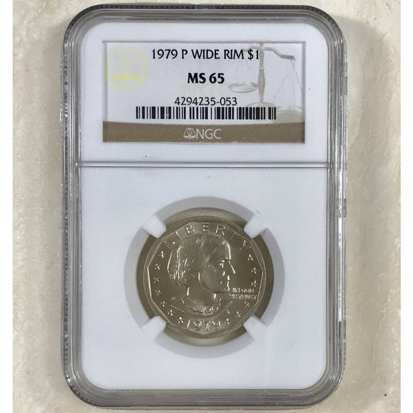 1979 Susan B Anthony Dollar Wide Rim Ngc Ms65 *rev Tyes* #505353