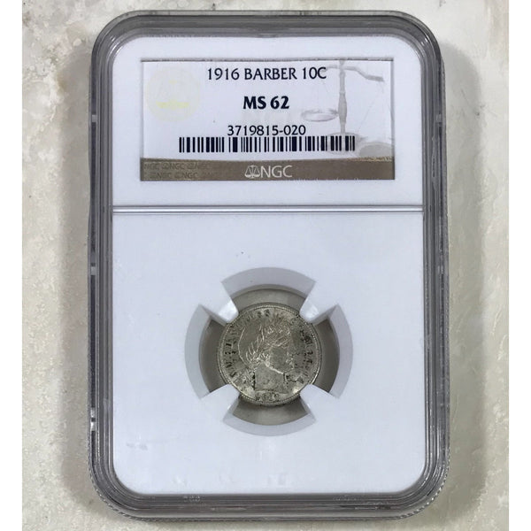 1916 Barber Dime Ngc Ms62 *rev Tyes* #5020103 Coin