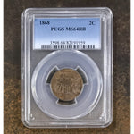 1868 Two Cent Piece Pcgs Ms64 Rb *rev Tyes* #1959372 Coin
