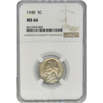 1948 Jefferson Nickel Ngc Ms66 *rev Tyes* #400356 Coin