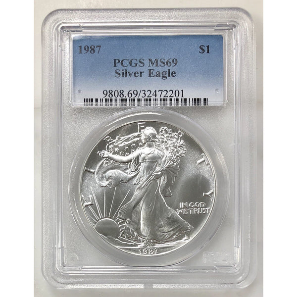 1987 Silver Eagle Dollar Pcgs Ms69 *rev Tyes* #220142