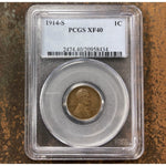1914 S Lincoln Cent Pcgs Xf40 *rev Tyes* #843463 Coin