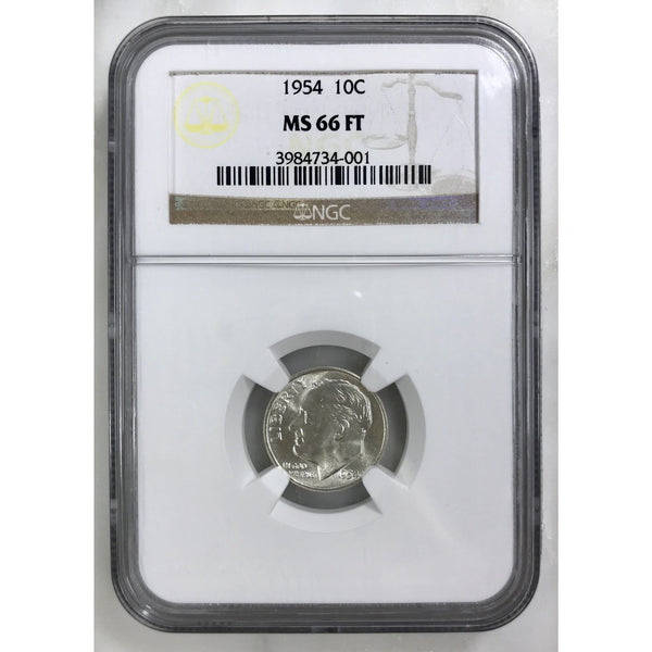 1954 Roosevelt Dime Ngc Ms66 Ft *rev Tyes* #4001 Coin