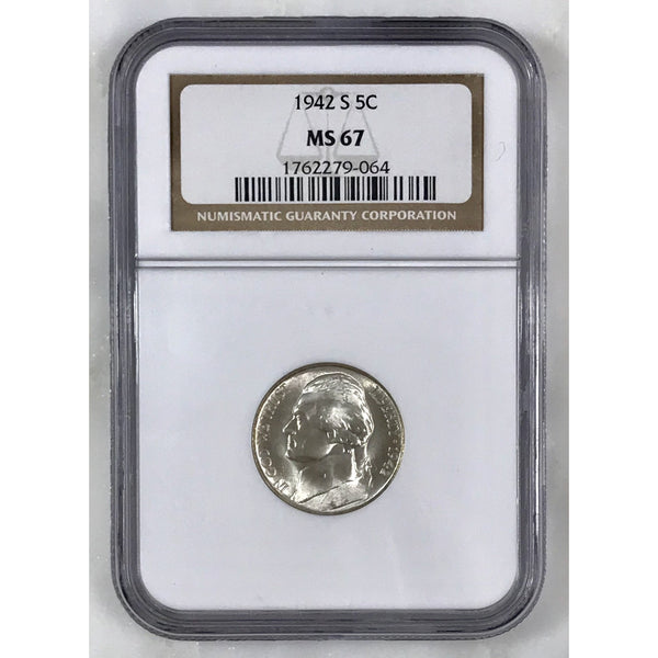 1942 S Jefferson Nickel Ngc Ms67 *rev Tyes* #906463 Coin