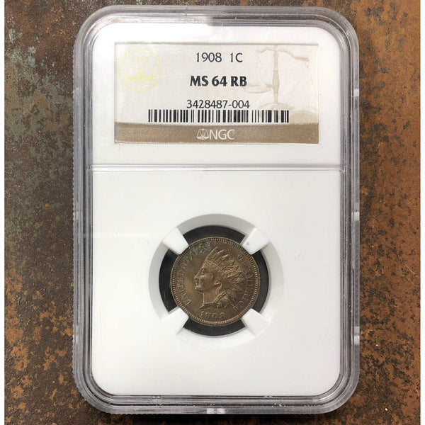 1908 Indian Head Cent Ngc Ms64 Rb *rev Tyes* #700489