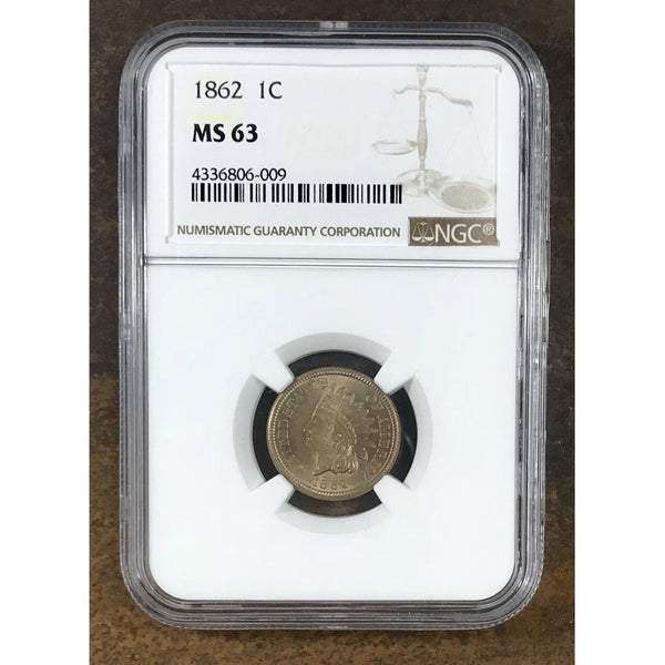 1862 Indian Head Cent Ngc Ms63 *rev Tyes* #6009200 Coin