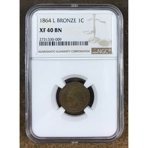 1864 L Bronze Indian Head Cent Ngc Xf40 Bn *rev Tyes* #0009199 Coin