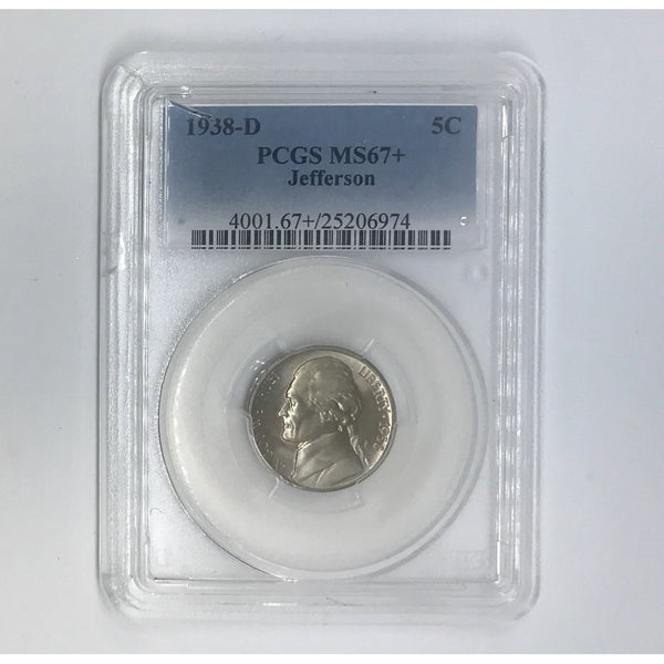 1938 D Jefferson Nickel Pcgs Ms67+ *rev Tyes* #6974343 Coin