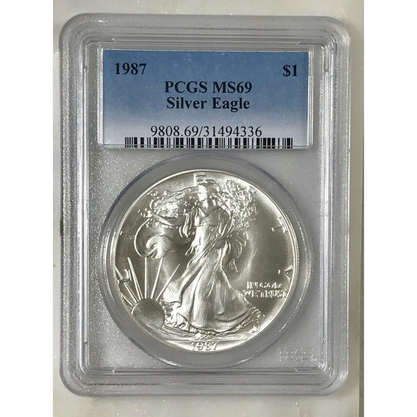 1987 Silver Eagle Dollar Pcgs Ms69 *rev Tyes* #433642 Coin