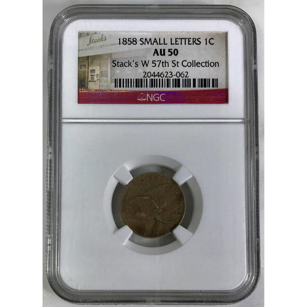 1858 Small Letters Flying Eagle Cent Ngc Au50 *rev Tyes* #3062235 Coin