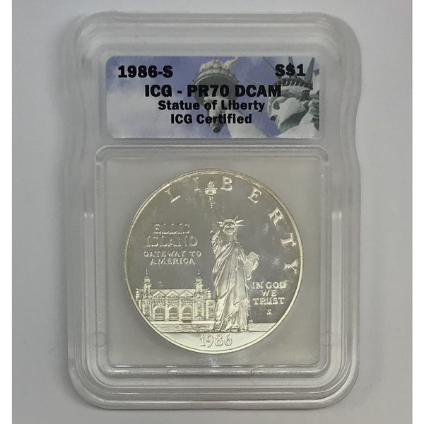 1986 S Statue of Liberty Dollar ICG PR70 DCAM *Rev Tye's* #072225