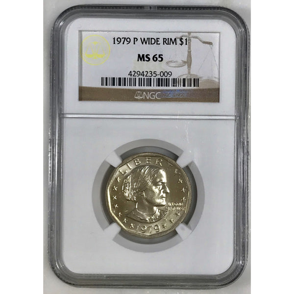1979 P Susan B. Anthony Dollar Wide Rim Ngc Ms65 500953 Coin