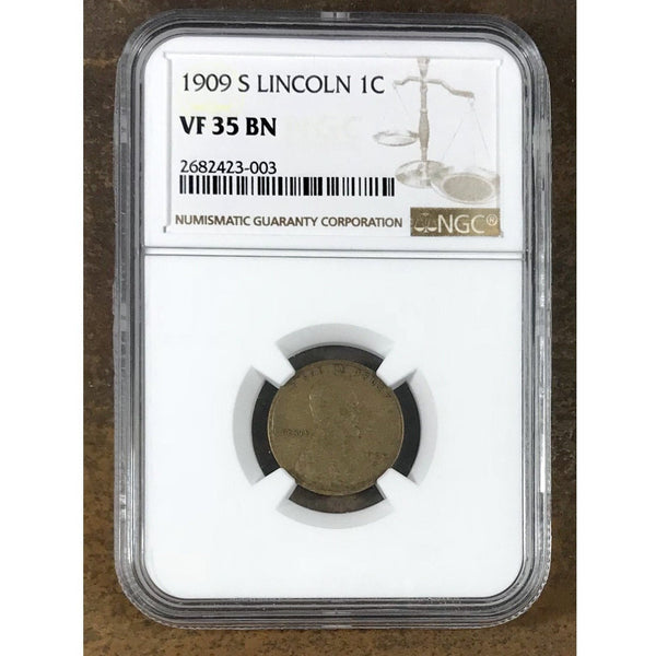 1909 S Lincoln Cent Ngc Vf35 Bn *rev Tyes* #3003120