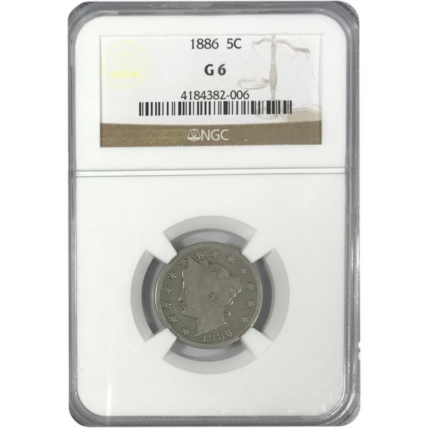 1886 Liberty Nickel NGC G6 *Rev Tye's* #2006