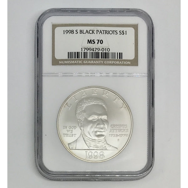 1998 S Black Patriots Dollar NGC MS70 *Rev Tye's* #9010