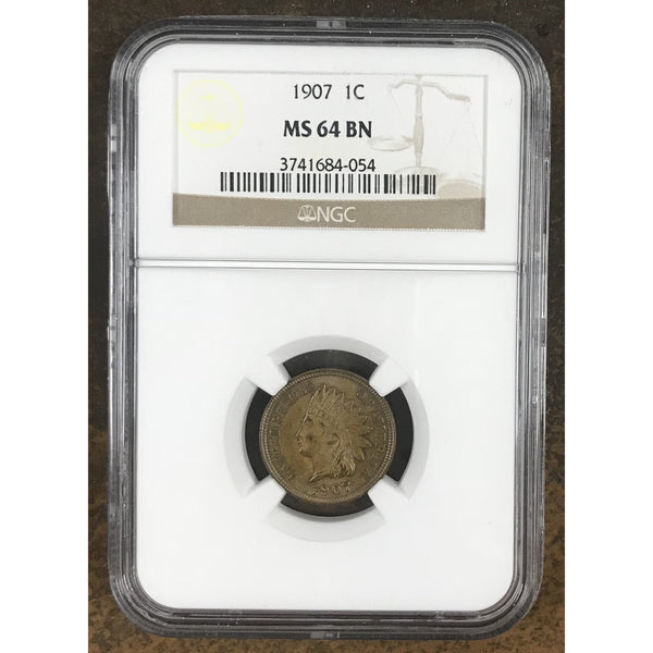 1907 Indian Head Cent Ngc Ms64Bn *rev Tyes* #4054 Coin