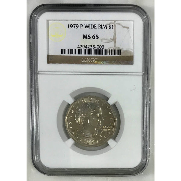 1979 P Susan B. Anthony Dollar Wide Rim Ngc Ms65 500353 Coin