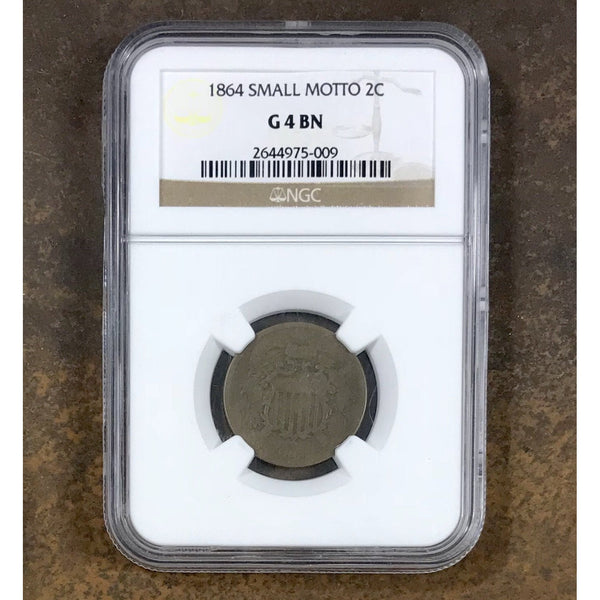 1864 Two Cent Piece Small Motto Ngc G4 Bn *rev Tyes* #5009167 Coin