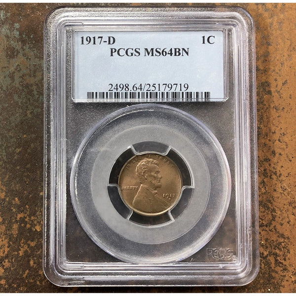 1917-D Lincoln Cent Pcgs Ms64Bn *rev Tyes* #9719162 Coin