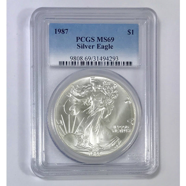 1987 Silver Eagle Dollar Pcgs Ms69 *rev Tyes* #429342 Coin
