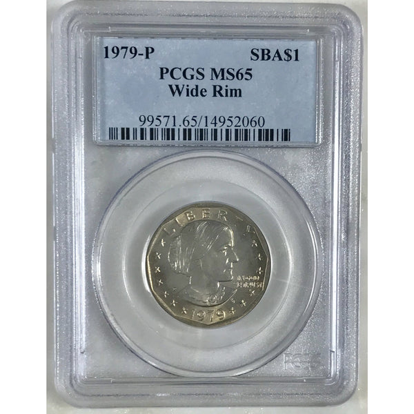 1979 P Susan B Anthony Dollar Wide Rim Pcgs Ms65 #206053 Coin
