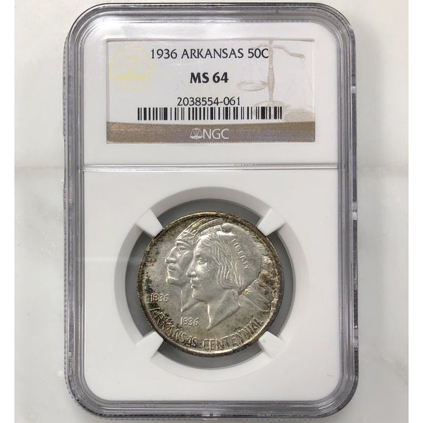 1936 Arkansas Half Dollar Ngc Ms64 *rev Tye* #406199